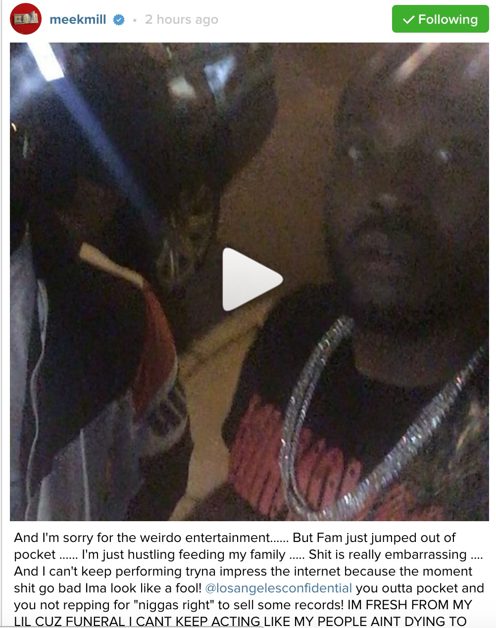 Meek Mill Game Diss Instagram 3