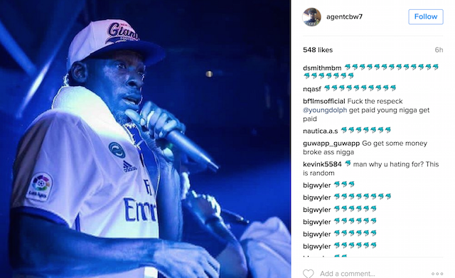 Pete Rock Young Dolph beef Instagram emoji comments