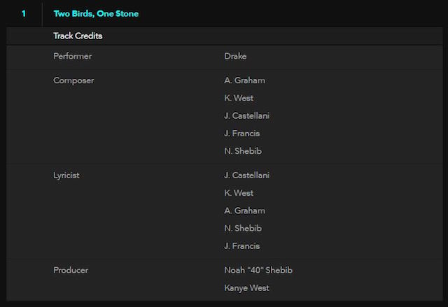 Drake Kanye West credits