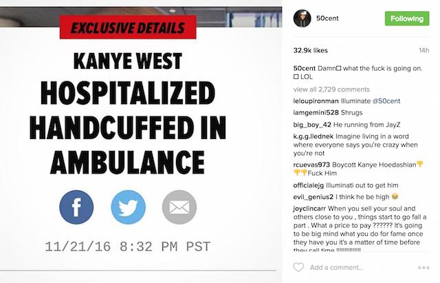 50 Cent Kanye West response