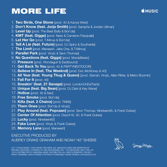 More Life tracklist 2
