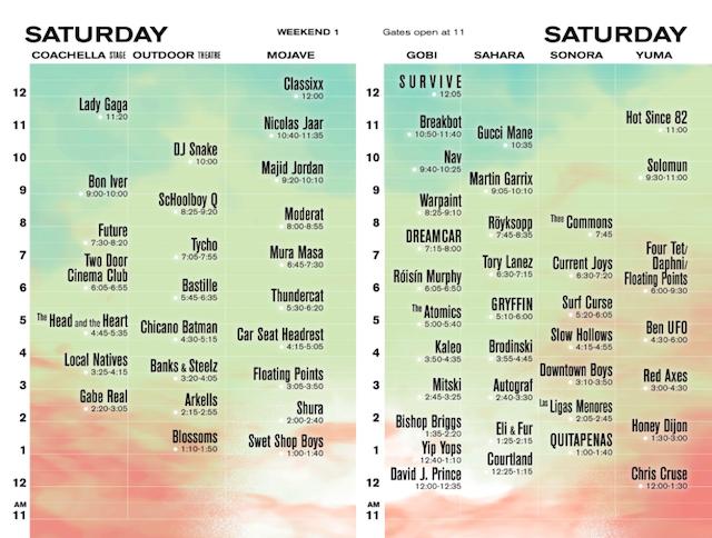 Coachella 2017 Weekend 1 Saturday set times