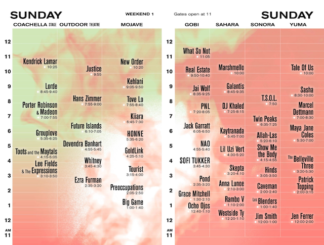 Coachella 2017 weekend 1 Sunday set times