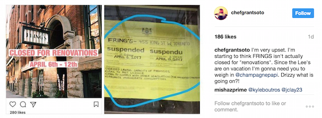 Fring's liquor license suspension
