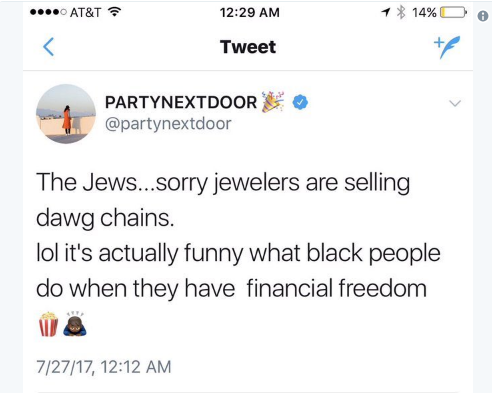 PARTYNEXTDOOR Deletes Post About Jews & Offers An Explanation