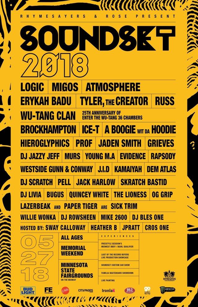 Migos, Logic, Erykah Badu, Wu-Tang Clan & Atmosphere To Headline Soundset 2018