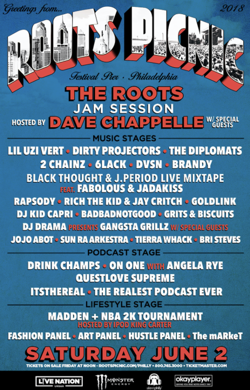 The Roots Announce 2018 Roots Picnic Lineup Hosted By Dave Chappelle