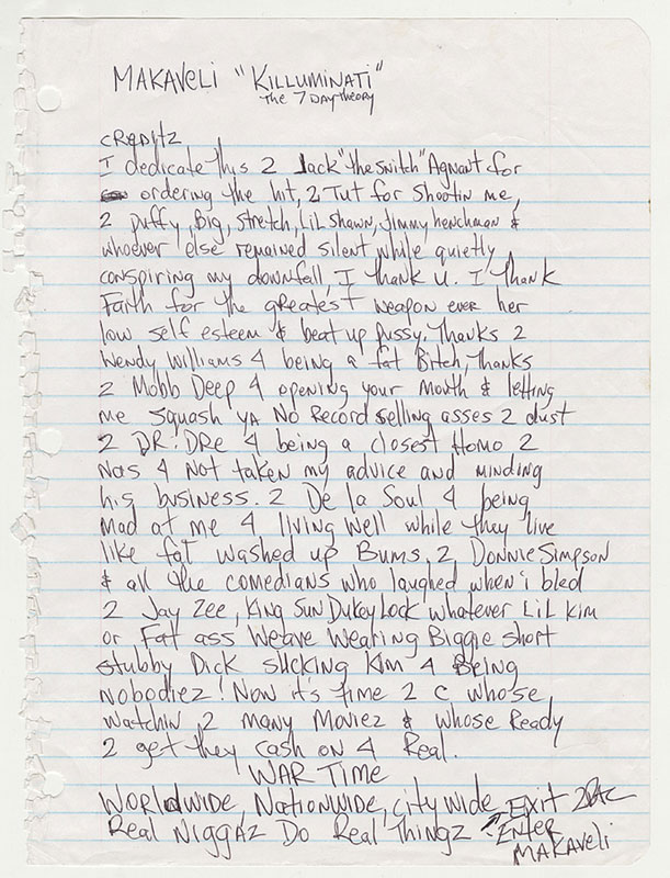 """Tupac Disses Dr. Dre, JAY-Z, De La Soul & More In Handwritten """"7 Day Theory"""" Liner Notes"""